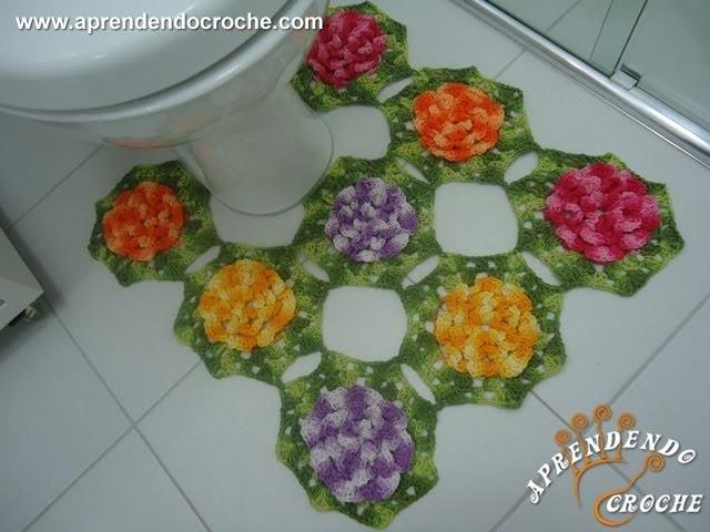 Tapete do Vaso em Croche - Jogo de Banheiro Barbante - Aprendendo Crochê