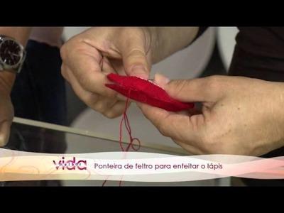 Aprenda a fazer uma linda ponteira de feltro para enfeitar o lápis!