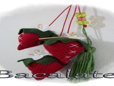 Artesanato Como fazer MORANGO PINGENTE. CHAVEIRO em tecido -DIY