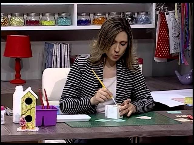 Casinha porta chaves com Scrapbook - Parte 2