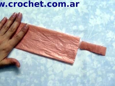 Como cortar bolsas plásticas técnica 2 para tejer a crochet  paso a paso.