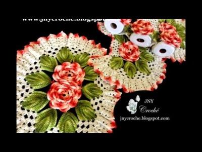 Jogo de Banheiro Flores de Crochê - Novas Versões 2014 - JNY Crochê