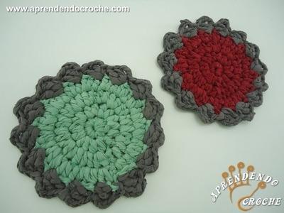Suporte de Croche para Panela com Retalho de Malharia - Aprendendo Crochê