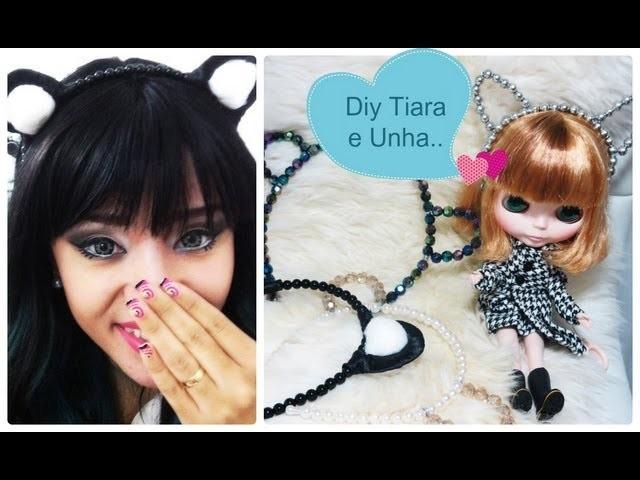 Diy Tiara Cute + Adesivos nas Unhas