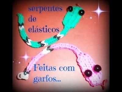 Serpentes De Elásticos Feitas com Garfos. .