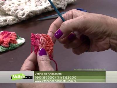 Mulher.com 19.02.2015 Vitória Quintal - Tapete em crochê Parte 1.2
