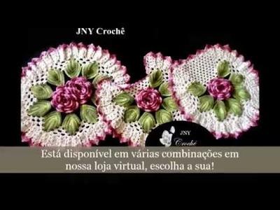"""Jogo de banheiro de crochê com flores """"Amora Selvagem"""" por JNY Crochê"""