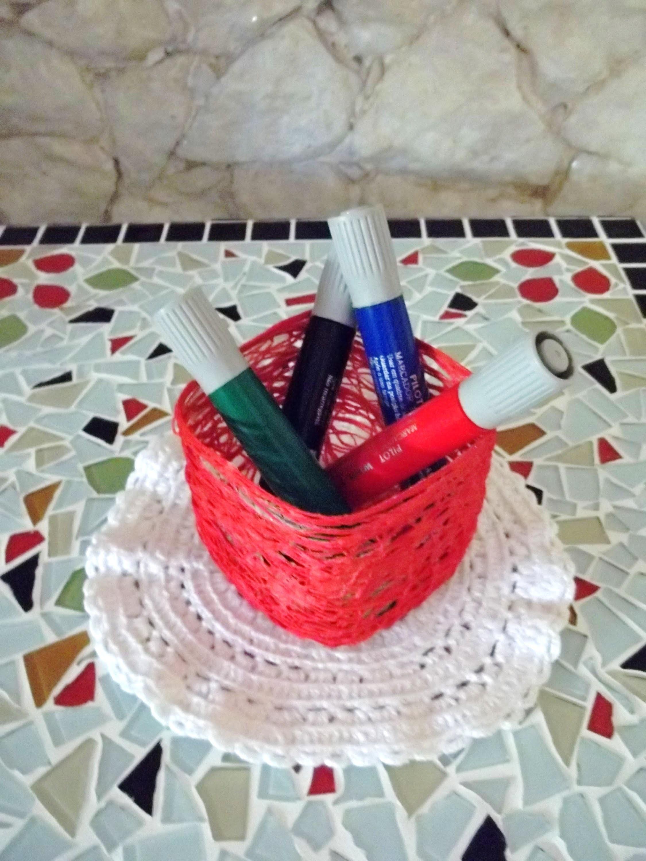 Artesanato - Cachepot de barbante ou linha de crochet