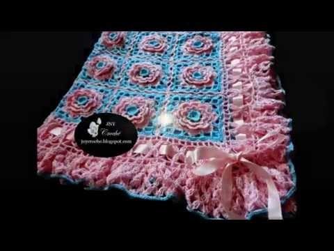 Manta de bebê de crochê com flores por JNY Crochê