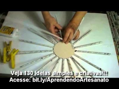 Artesanato - Cesta Com Jornal | Artesanato Com jornal