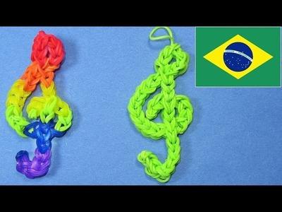 Como fazer Pulseiras com Elásticos. Rainbow Loom Bands: Pulseiras de Elástico - Clave de Sol