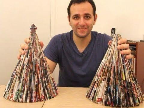Como fazer uma árvore de natal com uma revista (origami)