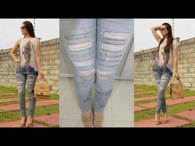 DIY - Como rasgar e desfiar calça jeans!