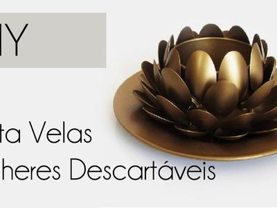 ♥ DIY: Porta Velas Flor de Lótus feita com Colheres (Reciclagem, Artesanato e Decoração)