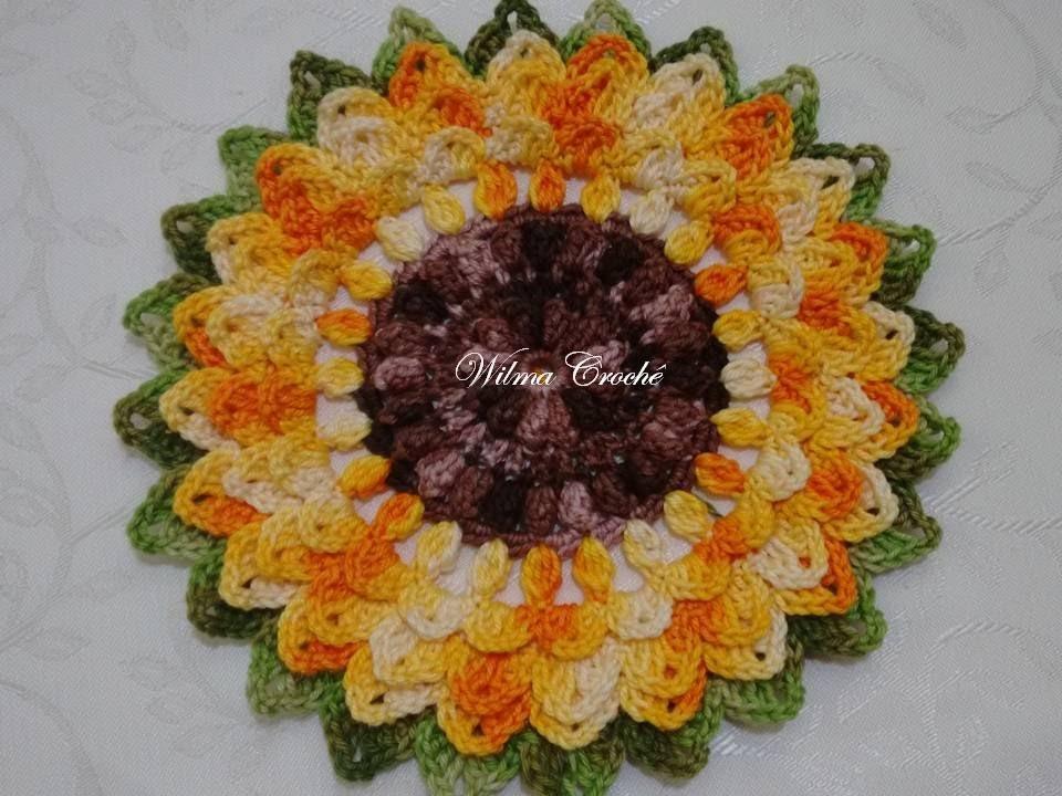 Flor de Crochê Girassol Passo a Passo