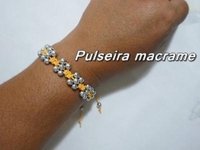 NM Bijoux - Passo a Passo - Pulseira macrame amarela