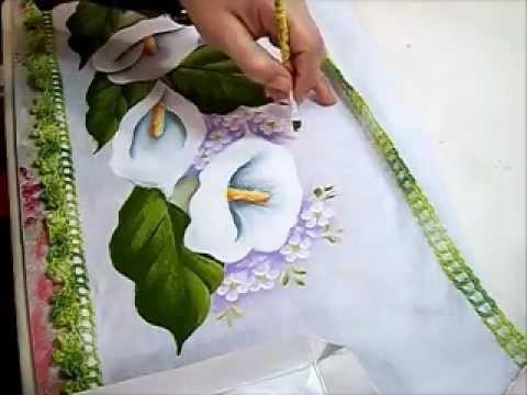 PINTURA EM TECIDO - how to paint flowers - Ariane Cerveira