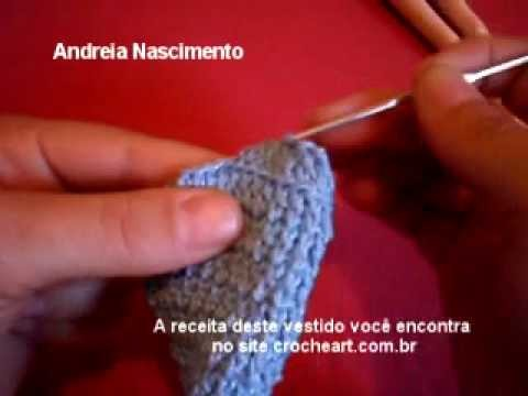 Video aula vestido de boneca de croche parte 3