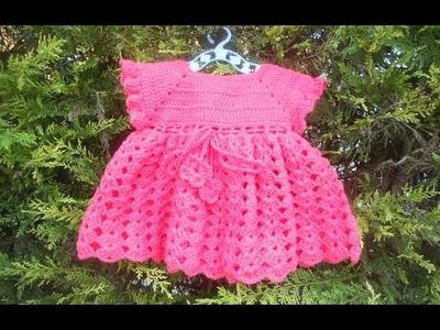 Vestidinho crochê lequinhos rosa parte 2
