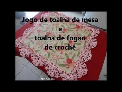 Jogo de toalha de fogão e toalha de mesa de crochê impermeável