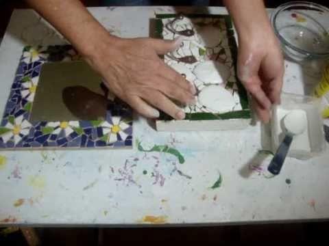 Como fazer mosaico com espelho - How to make mosaic mirror - Cómo hacer espejo con mosaico