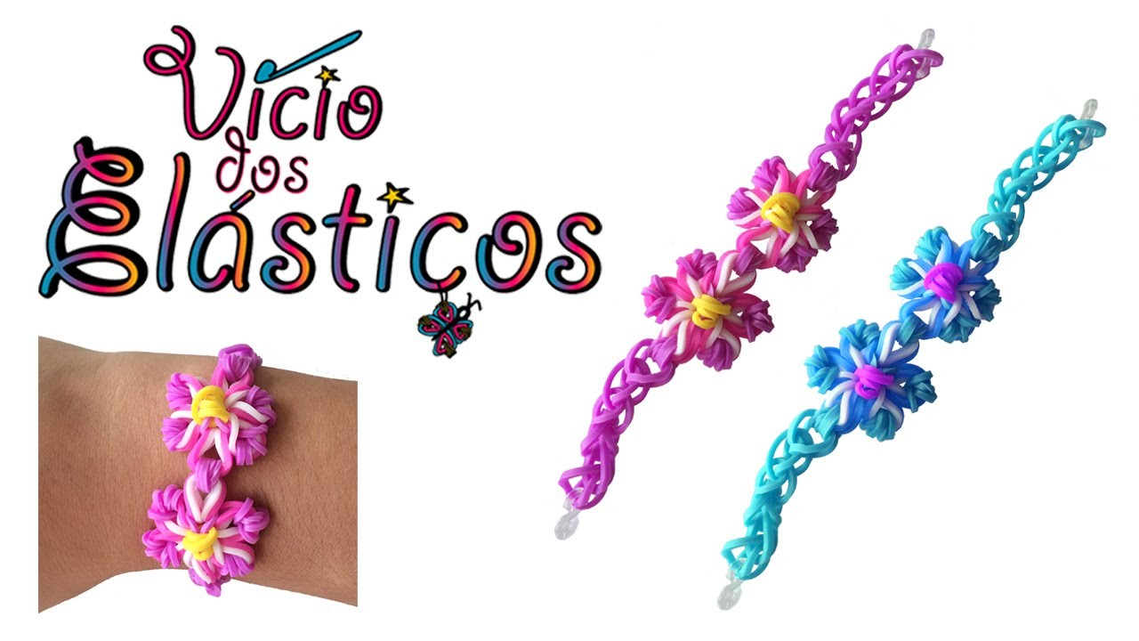 Como fazer Pulseira de Elásticos com duas flores (sem tear) - Rainbow Loom