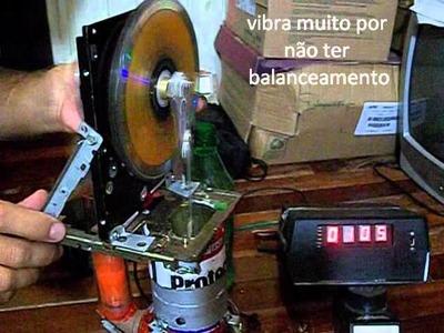 Motor Stirling caseiro à 1220 RPM - Demo of my Homemade Stirling engine