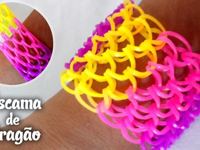 Pulseira de Elastico escama de dragão - Rainbow Loom Dragon Scale