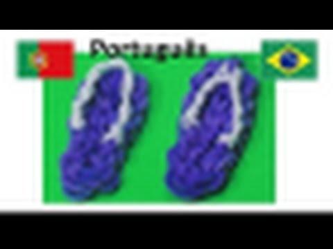 Pulseiras de Elastico Sandálias | Como fazer Pulseiras com elasticos. Loom Bands. Charms