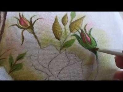 Pintura em tecido de botão de rosa - Graça Tristão (nível igual ao meu iniciante)