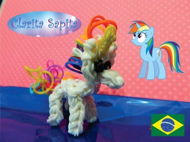 Como fazer um unicórnio. ponei. my little pony de elástico Rainbow loom #36