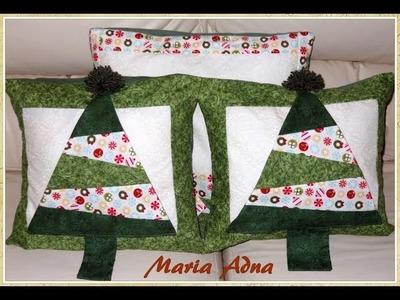 Almofada da árvore em patchwork -  Patchwork Maria Adna - Aula de almofada em patchwork - Almofadas