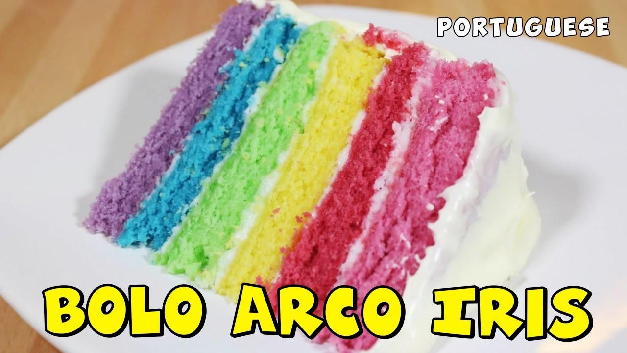 Bolo Arco Iris | Rainbow Cake in Portugues