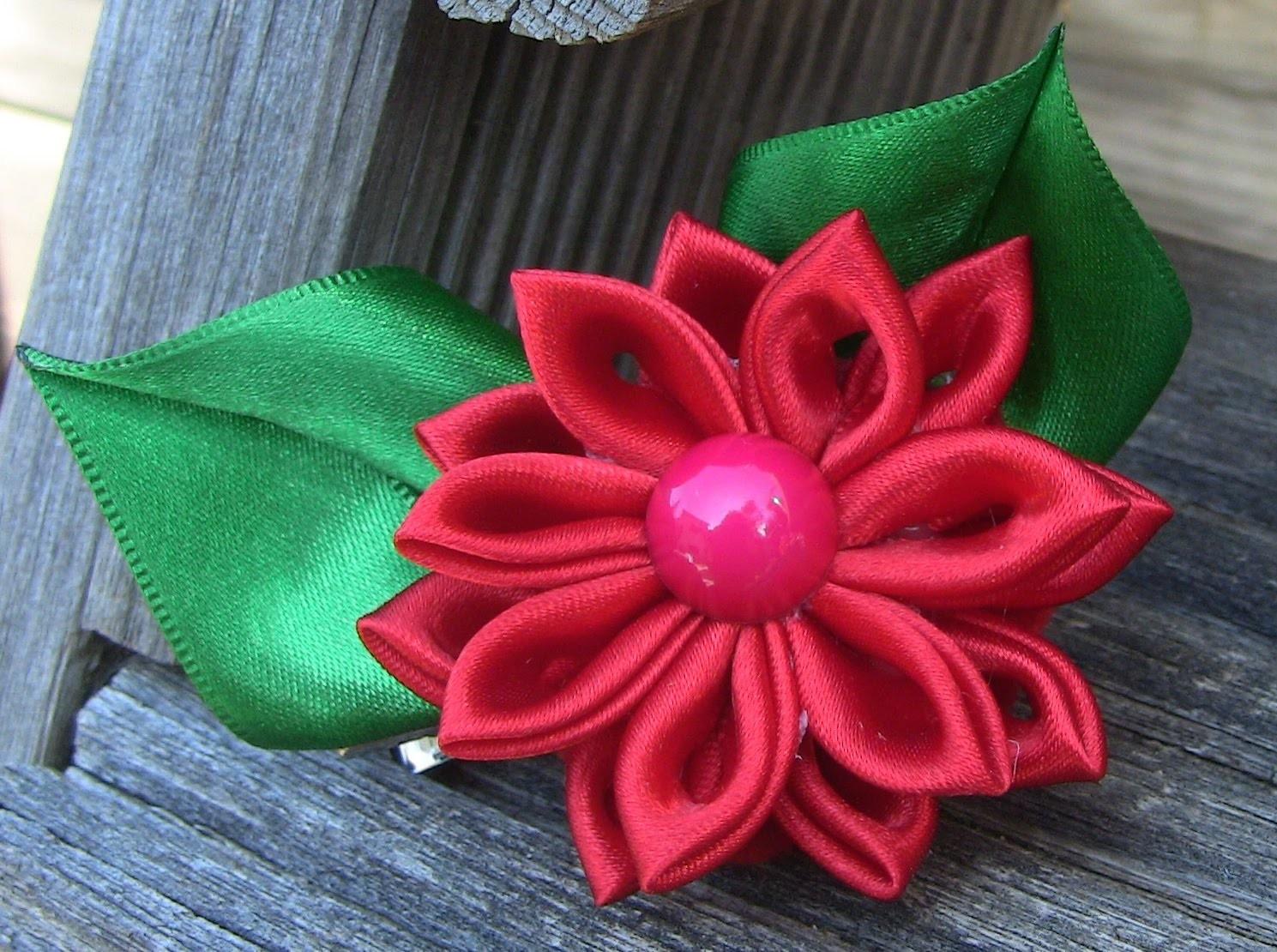 HOW TO MAKE ROLLED RIBBON ROSES- fabric flowers-Flor de Fita em cetim  Passo a Passo.