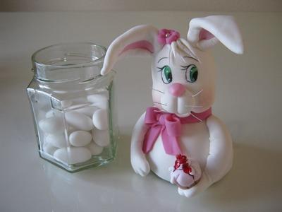 Potinho  coelho ( Páscoa ) - Biscuit. Porcelana Fria by Clau