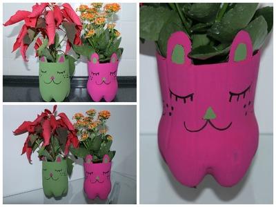 Vaso de planta,feito com garrafa pet,passo a passo