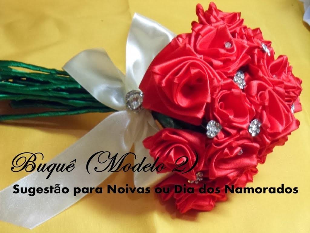 Buquê de Rosas de Cetim (Modelo 2) - Sugestão para Dia dos Namorados