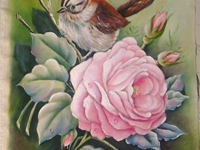 Como pintar rosa com passarinho.