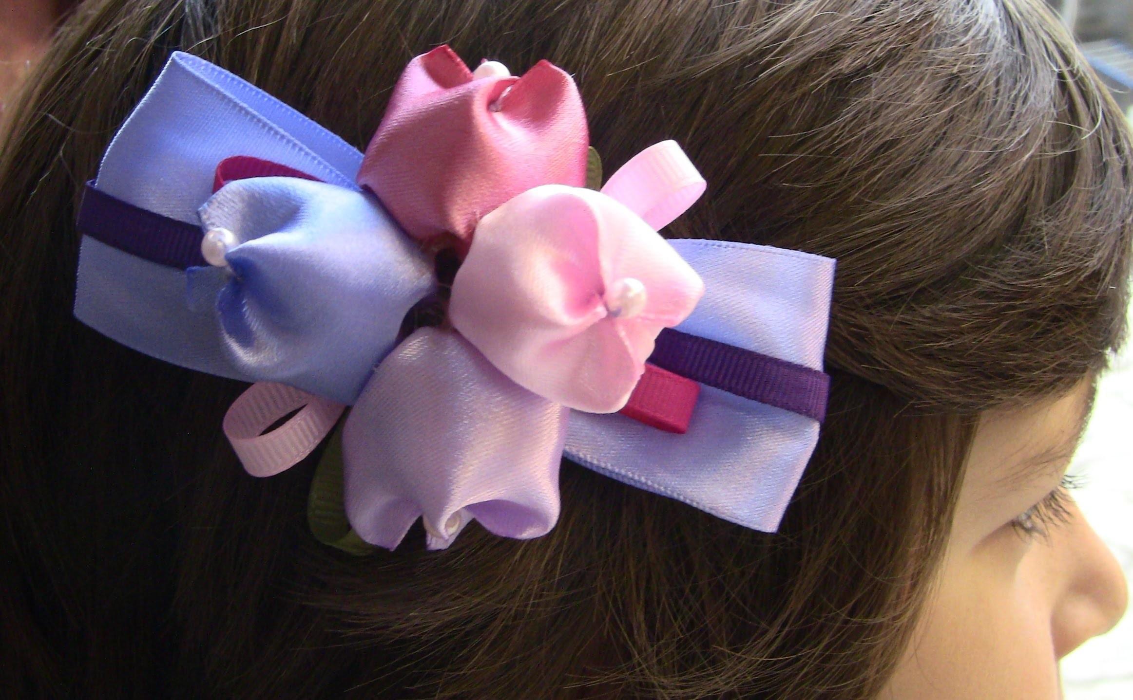D.I.Y. Laço com Tulipas de cetim  Passo a Passo- - fabric flowers,tutorial
