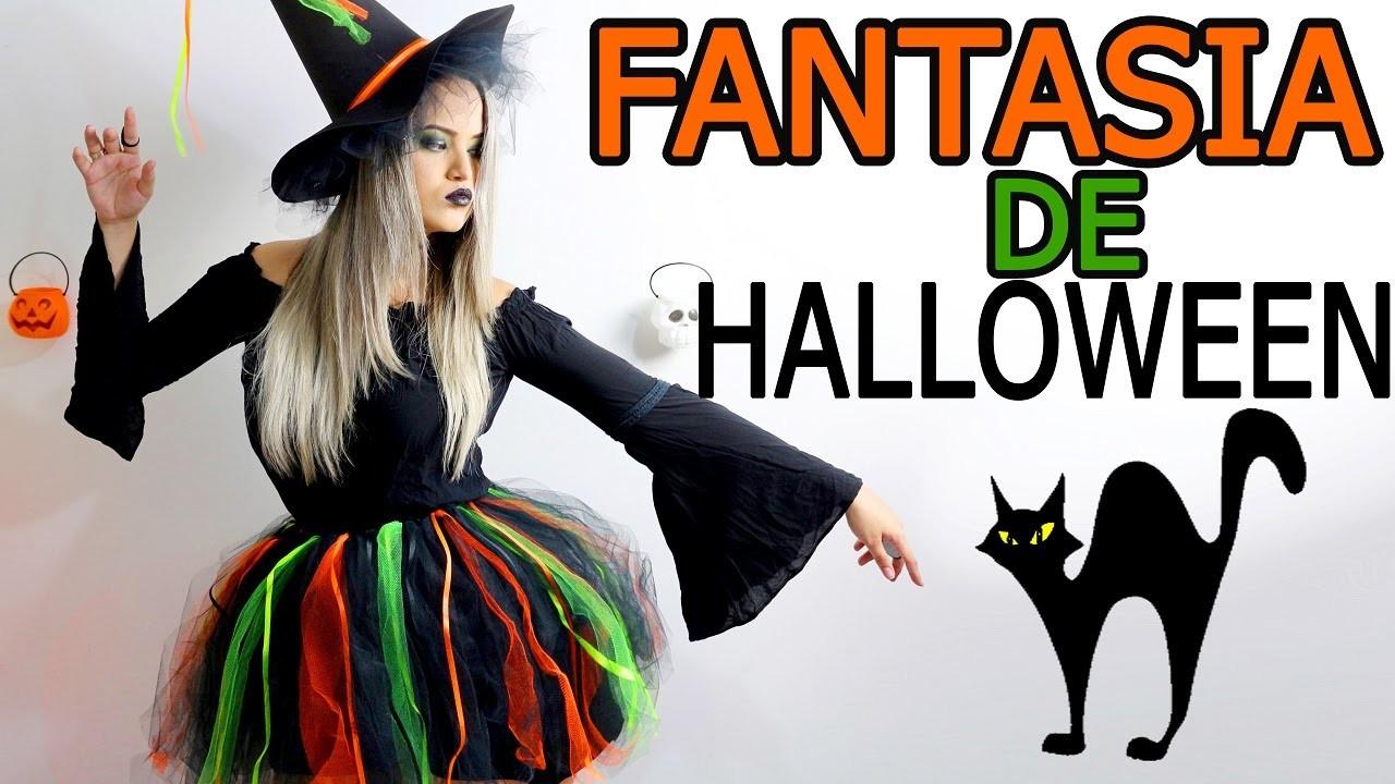 Como fazer Fantasia de Halloween de bruxa | DIY | Faça você mesma
