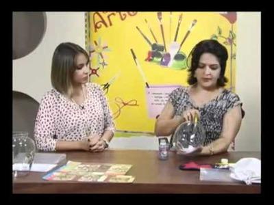 Craquelê no vidro - Artesã Marisa Magalhães - Aquarela Brasil Tintas - Parte 1.2