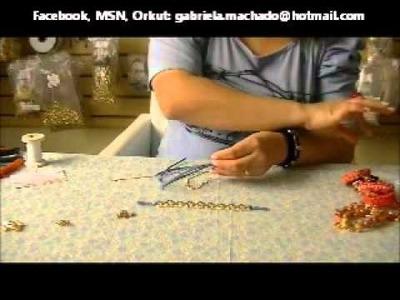 AnaGGabriela-Video aula 08-Pulseira com couro, corrente e fio de strass