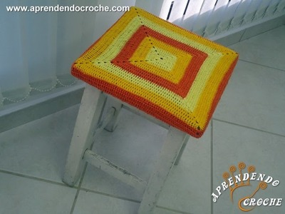 Capa de Crochê para Banqueta Quadrada - Aprendendo Crochê