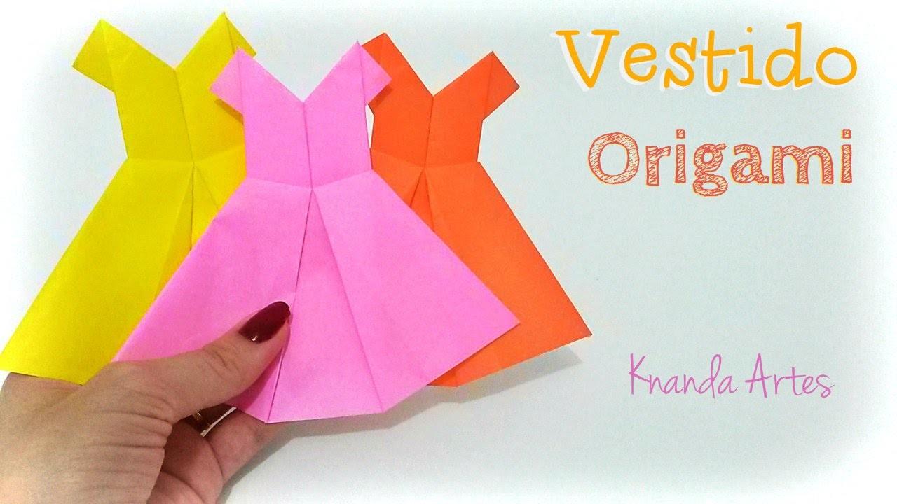 Como fazer Vestido de papel - How to make a Dress - Origami