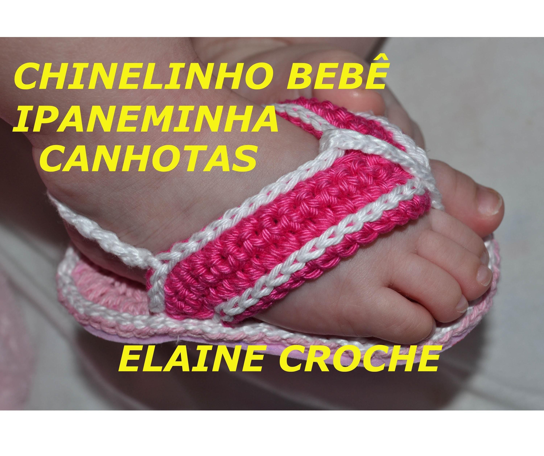 CROCHE PARA CANHOTOS - LEFT HANDED CROCHET - CHINELINHO BEBÊ IPANEMINHA EM CROCHÊ CANHOTAS