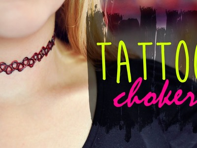 DIY :: 90's Tattoo Choker Necklace. Gargantilha dos anos 90 (with pendant. com pingente)