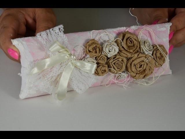 DIY: Convite caixinha rolinho de papel toalha.vintage paper roses