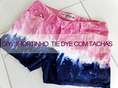 DIY: shortinho tie dye + tachas (tie dye.dip dye studded shorts)