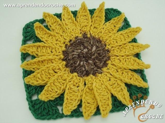 Flor de Croche Girassol Rei - Aprendendo Crochê