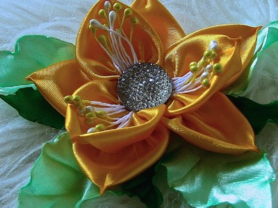 Flor em Cetim com folhas Passo a Passo - Kanzashi Flower, Ribbon Rose,Tutorial, DIY